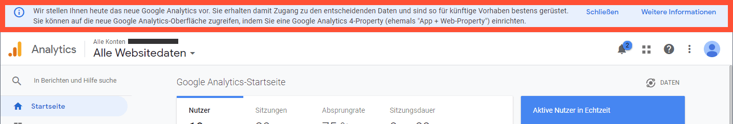 Ein Hinweis wird angezeigt, falls du deine Analytics Property upgraden kannst.