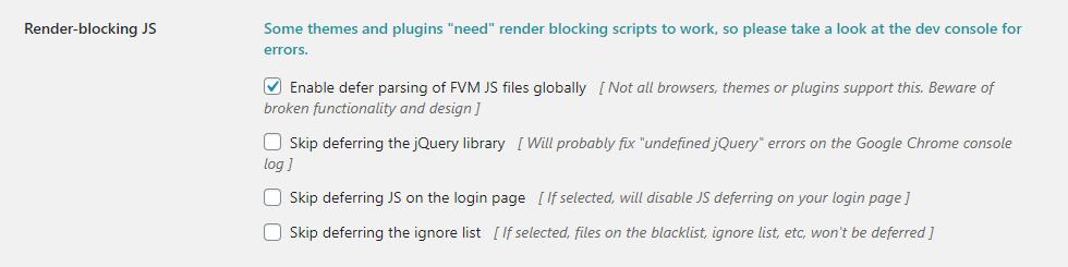 FVM Konfiguration - Teil 9 - Render-blocking JS Optionen