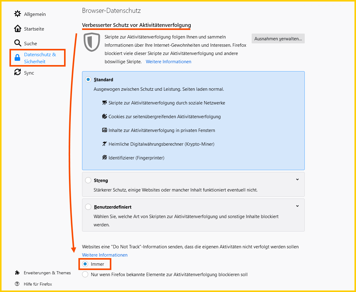 "Firefox ""Do Not Track"" Einstellung"