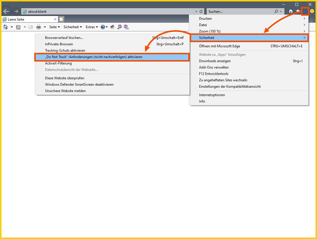 """Internet Explorer 11 """"Do Not Track"""" Einstellung"""