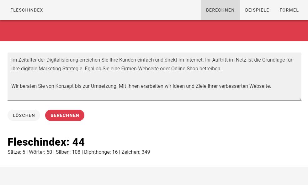 Fleschindex: Text-Block nach der Bearbeitung erreicht 44 Punkte