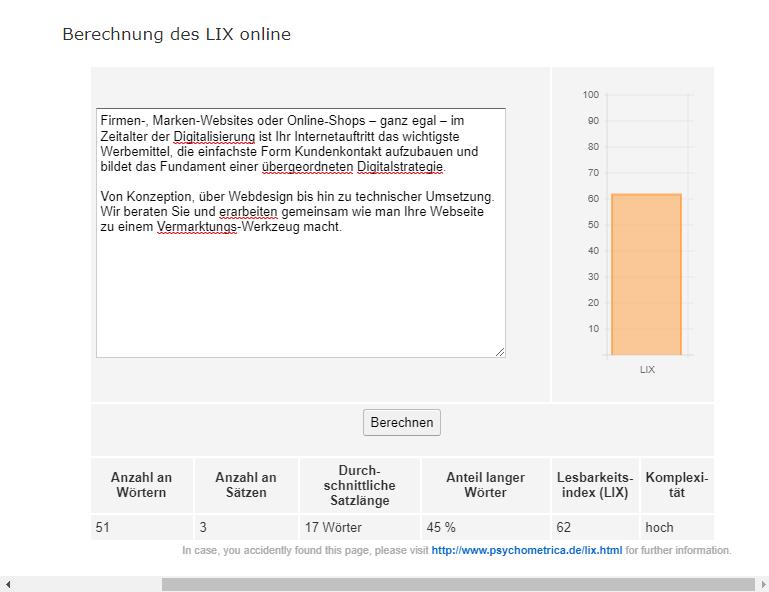 LIX: Text-Block vor der Bearbeitung erreicht 62 Punkte