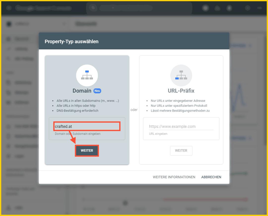 Google Search Console einrichtigen - Domain-Property hinzufügen
