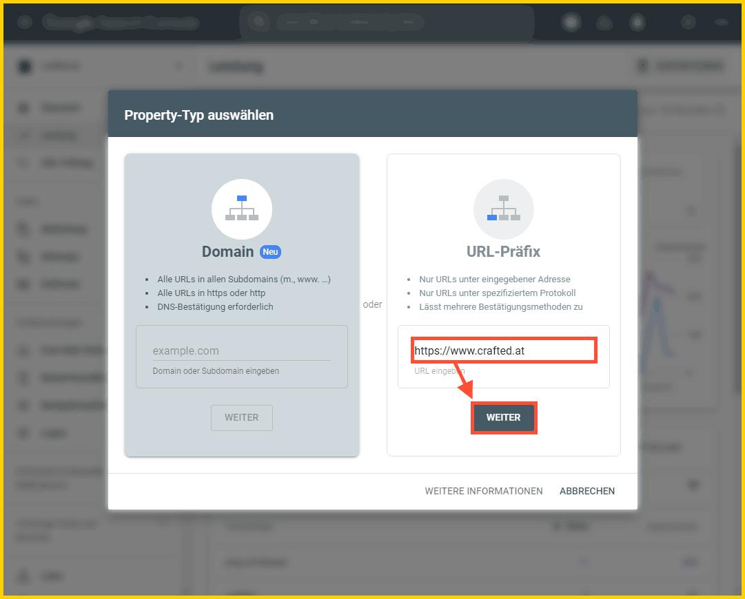Google Search Console einrichtigen - URL-Präfix-Property hinzufügen