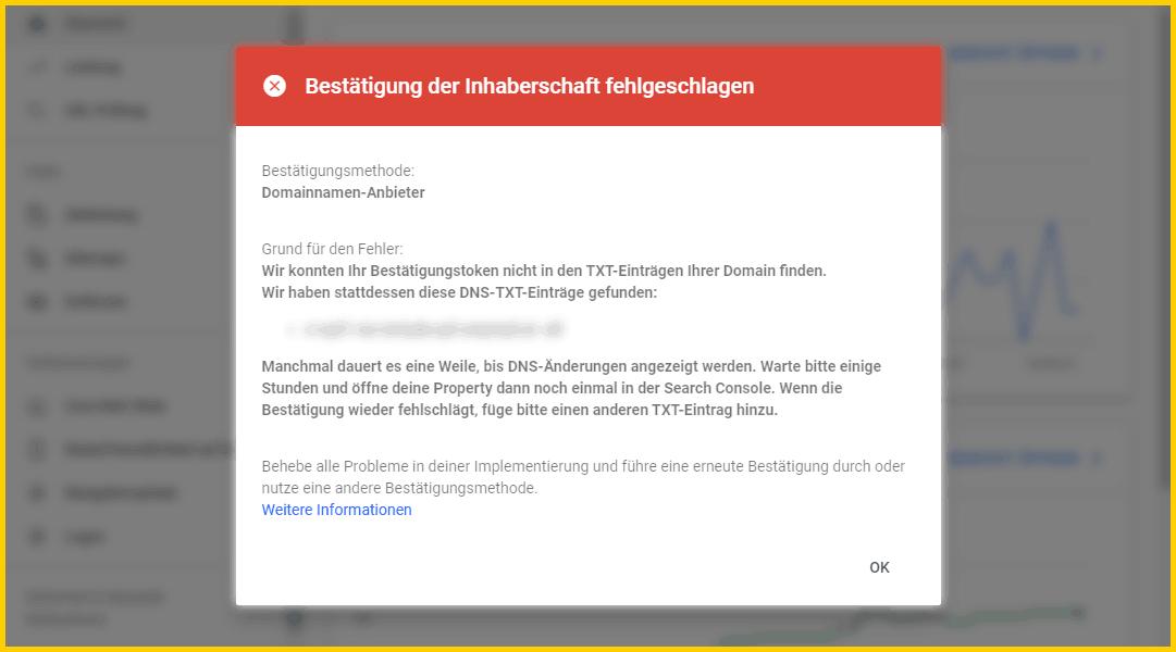 Google Search Console einrichtigen - Bestätigung der Inhaberschaft per DNS-Eintrag fehlgeschlagen