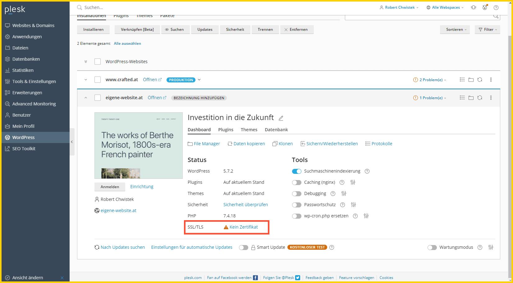 SSL Fehler bei der Installation der Domain