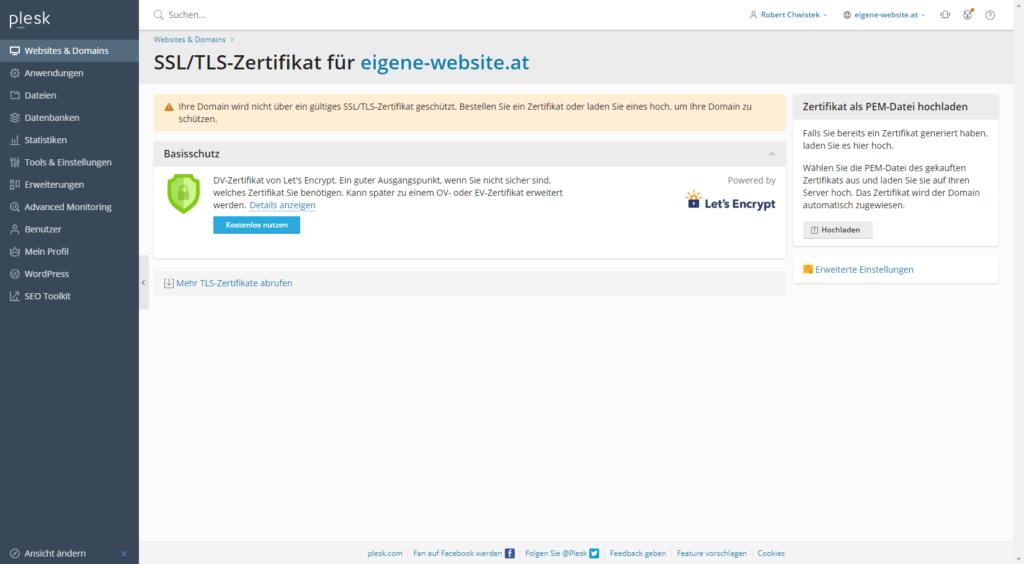 SSL Zertifikat installieren