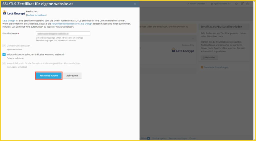 SSL Zertifikat - Installation abschließen